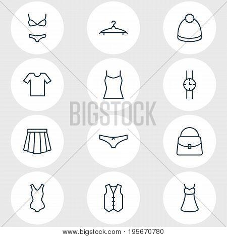 Vector Illustration Of 12 Dress Icons. Editable Pack Of Casual, Apparel, Handbag Elements.