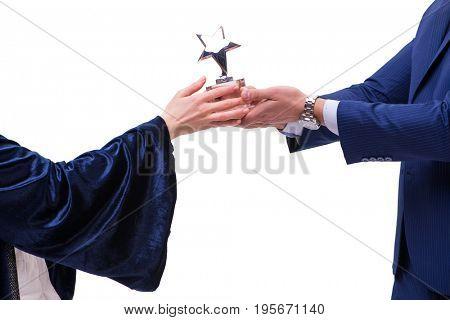 Student receiving diploma after graduation