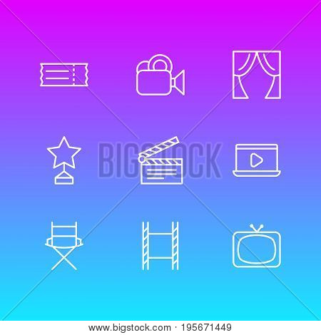 Vector Illustration Of 9 Cinema Icons. Editable Pack Of Monitor, Theater, Clapper And Other Elements.