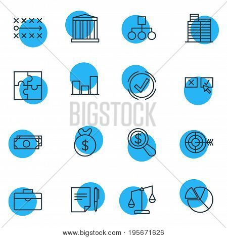 Vector Illustration Of 16 Management Icons. Editable Pack Of Balance, Recision, Solution And Other Elements.