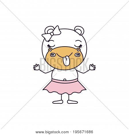 silhouette color sections caricature of cute expression female hippo in skirt with bow lace and sticking out tongue vector illustration