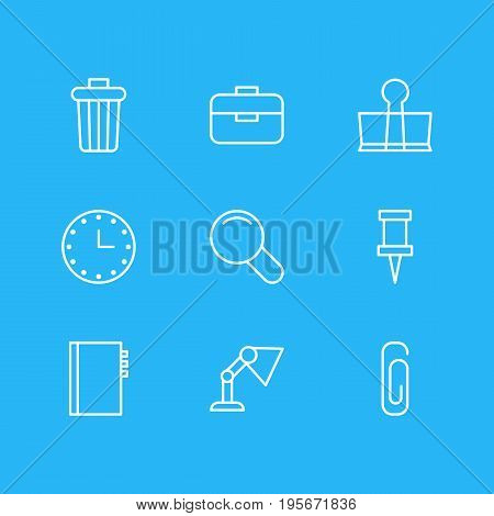 Vector Illustration Of 9 Instruments Icons. Editable Pack Of Textbook, Zoom, Pushpin And Other Elements.