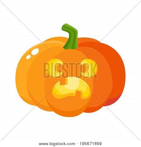 Pumpkin jack-o-lantern with scared face, Halloween symbol, cartoon vector illustration isolated on white background. Cartoon pumpkin lantern with face showing fear, surprised, Halloween decoration