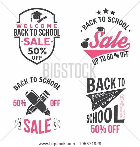 Back to School design. For advertising, promotion, poster, flier, blog, article, social media, marketing or banner. Vector illustration. Vintage typography design with school supplies and Back to School Sale text.