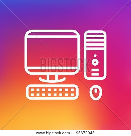 Isolated Computer Outline Symbol On Clean Background. Vector PC Element In Trendy Style.