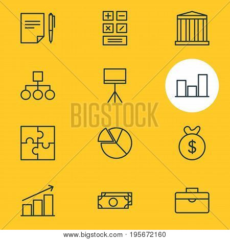 Vector Illustration Of 12 Trade Icons. Editable Pack Of Columns, Calculate, Portfolio And Other Elements.