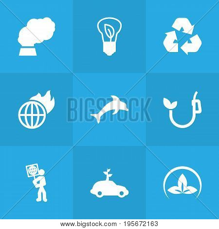 Set Of 9 Atmosphere Icons Set.Collection Of Fish, Contamination, Warm And Other Elements.