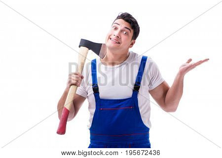 Funny repairman isolated on white
