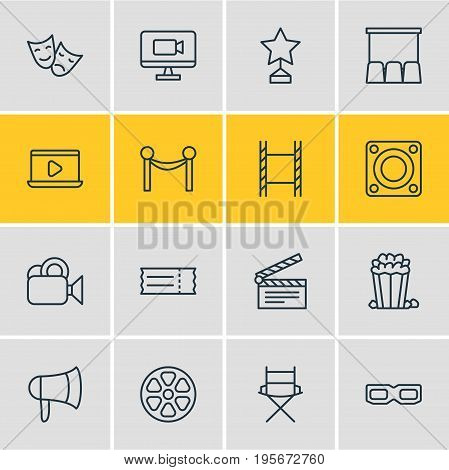 Vector Illustration Of 16 Movie Icons. Editable Pack Of Snack, Filmstrip, Spectacles And Other Elements.