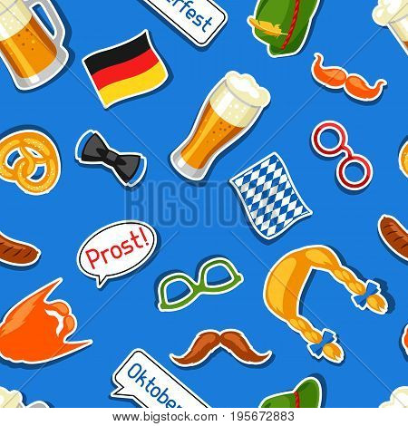 Oktoberfest seamless pattern with photo booth stickers. Background for festival and party.