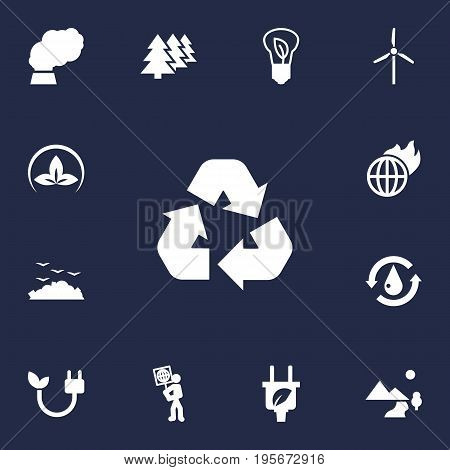 Set Of 13 Atmosphere Icons Set.Collection Of Cleaning, Volunteer, Reforestation And Other Elements.