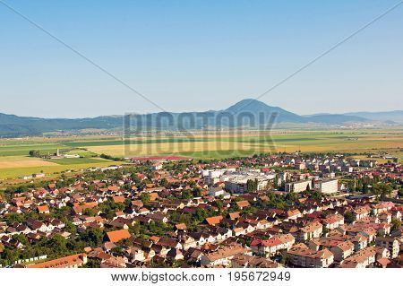 Roofs city old europe town top view Romania. Risnov