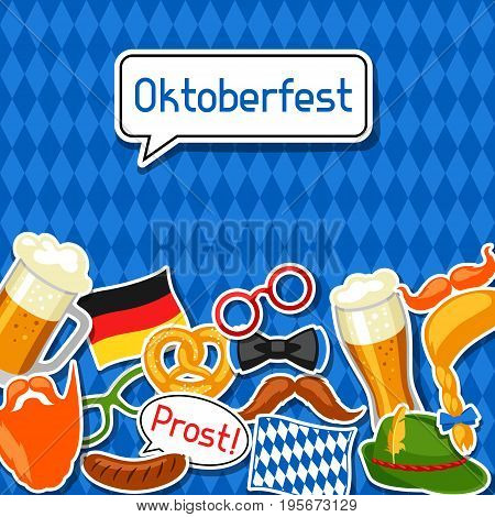 Oktoberfest card with photo booth stickers. Design for festival and party.