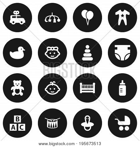 Set Of 16 Child Icons Set.Collection Of Bus, Nappy, Pram And Other Elements.