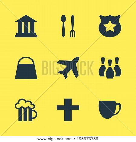 Vector Illustration Of 9 Location Icons. Editable Pack Of Handbag, Skittles, Cop Elements.