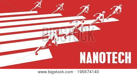 Nanotech with Business People Running in a Path 3D Illustration Render