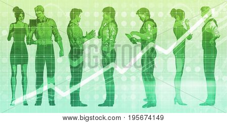 Business Conference with Chart Showing Growth Concept 3D Illustration Render