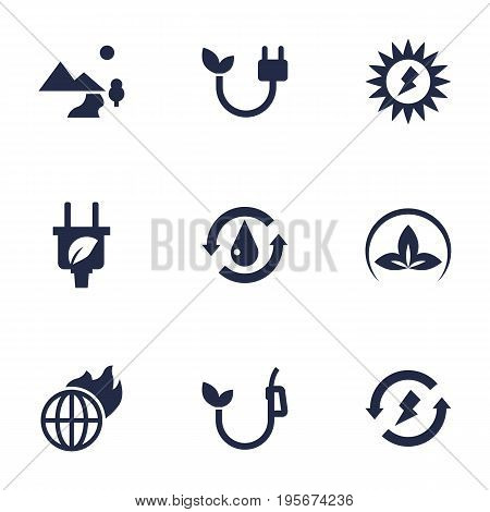 Set Of 9 Ecology Icons Set.Collection Of Eco, Treatment, Warm And Other Elements.