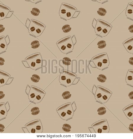 Seamless pattern with cup of coffee and grain embroidery stitches imitation. Embroidery background with cup of coffee. Embroidery coffee grain seamless pattern.