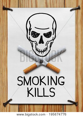 The image of a skull and crossed cigarette nailed to the banner