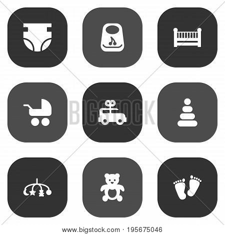 Set Of 9 Kid Icons Set.Collection Of Bear, Bus, Cot And Other Elements.
