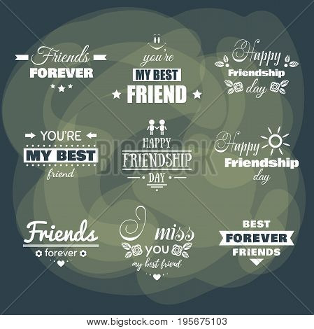 Collection of white badges on dark background for Friendship Day. Vector illustration.