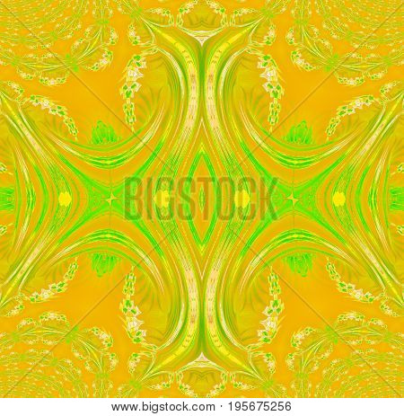 Abstract geometric background. Regular symmetric ornament yellow, orange and light green, centered.