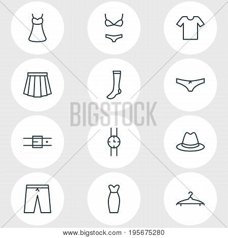 Vector Illustration Of 12 Garment Icons. Editable Pack Of Apparel, Hosiery, Hand Clock Elements.