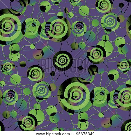 Abstract geometric background. Intricate irregular spirals and circles pattern in green blue shades with black on purple, connected with wavy lines.