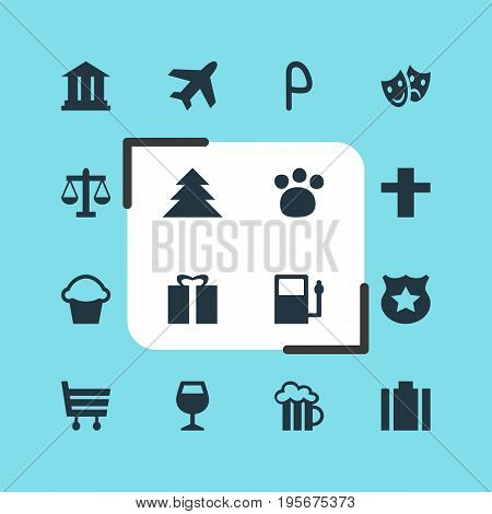 Vector Illustration Of 16 Location Icons. Editable Pack Of Present, Wineglass, Cross And Other Elements.