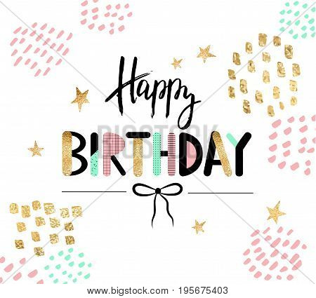 Happy birthday greeting card and party invitation template. Vector illustration