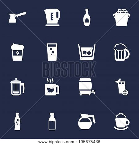 Set Of 16 Drinks Icons Set.Collection Of Mug, Electric Teapot, Cream And Other Elements.