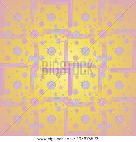 Abstract geometric background. Squares and concentric circles pattern pink, violet and purple on yellow orange, centered and blurred.