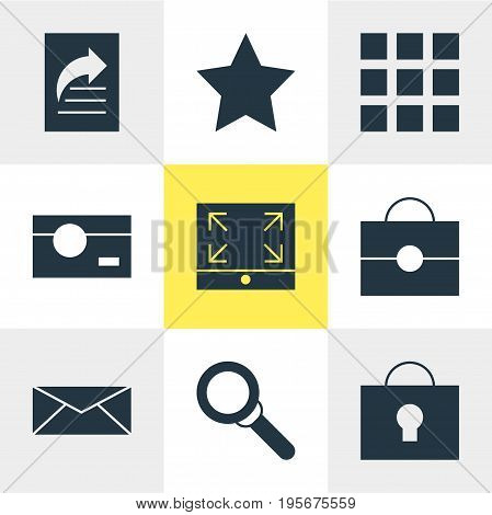 Vector Illustration Of 9 Internet Icons. Editable Pack Of Magnifier, Keyhole, Capture And Other Elements.