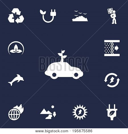 Set Of 13 Atmosphere Icons Set.Collection Of Fish, Renewable, Purification And Other Elements.
