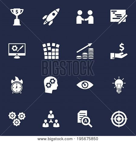 Set Of 16 Business Icons Set.Collection Of Money Growth, Rocket, Vision And Other Elements.