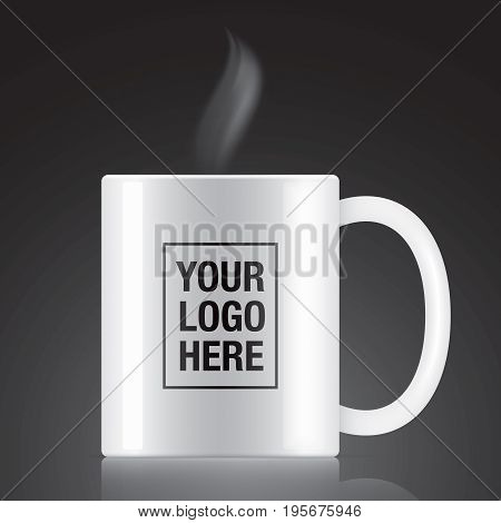 White vector coffee mug template isolated on a black background. Steam coming up from a white vector coffee mug.