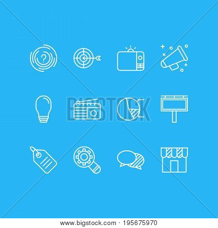 Vector Illustration Of 12 Advertising Icons. Editable Pack Of Fm Broadcasting, Discussing, Circle Diagram And Other Elements.