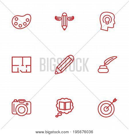 Set Of 9 Creative Outline Icons Set.Collection Of Writing, Palette, Inkwell With Pen And Other Elements.
