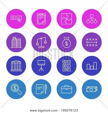 Vector Illustration Of 16 Management Icons. Editable Pack Of Recision, Balance, Calculate And Other Elements.