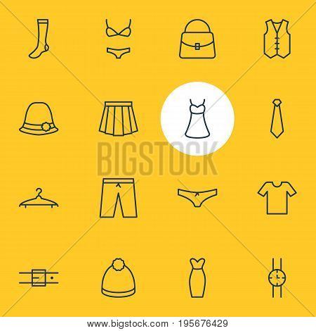 Vector Illustration Of 16 Garment Icons. Editable Pack Of Panties, Panama, Swimsuit And Other Elements.