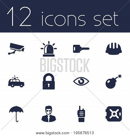 Set Of 12 Safety Icons Set.Collection Of Patrol, Look, Hardhat And Other Elements.