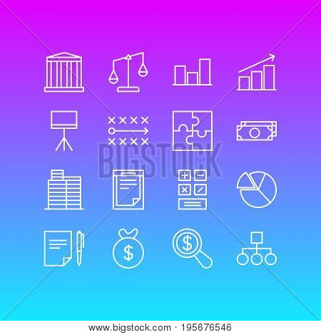 Vector Illustration Of 16 Management Icons. Editable Pack Of Riddle, Agreement, File And Other Elements.