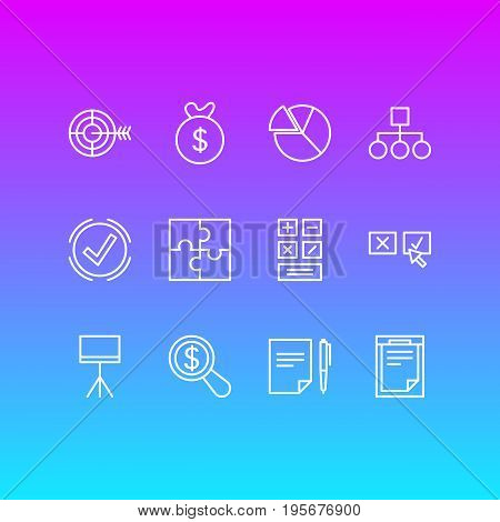 Vector Illustration Of 12 Business Icons. Editable Pack Of Riddle, Agreement, Calculate And Other Elements.