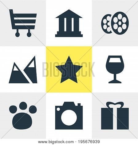Vector Illustration Of 9 Map Icons. Editable Pack Of Wineglass, Shopping Cart, University And Other Elements.