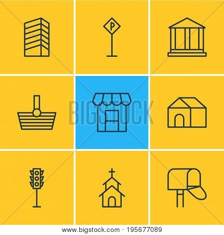 Vector Illustration Of 9 Public Icons. Editable Pack Of Skyscraper, Courthouse, Home And Other Elements.
