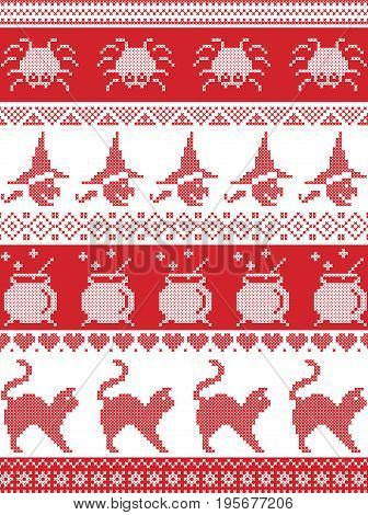 Scandinavian cross stitch, Nordic and traditional American holiday inspired seamless Halloween pattern with spider, spider web , witch, cat, cauldron  and decorative ornaments in red and white
