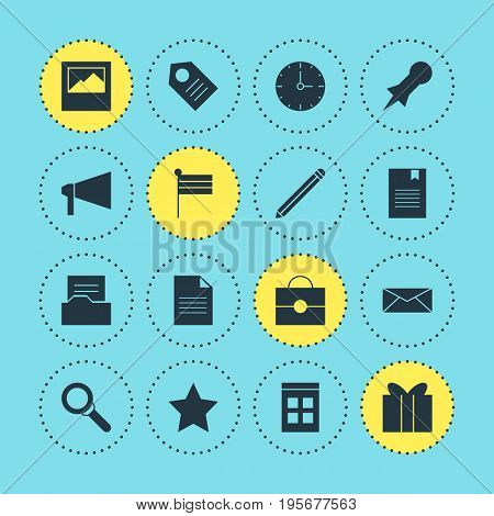 Vector Illustration Of 16 Internet Icons. Editable Pack Of Coupon, Bookmark, Bookmark And Other Elements.