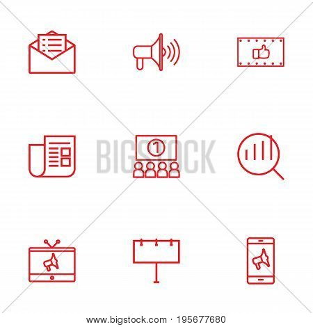 Set Of 9 Commercial Outline Icons Set.Collection Of Mobile Marketing, Ad Banner, Email Promotion And Other Elements.