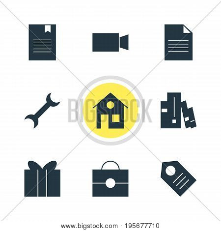 Vector Illustration Of 9 Online Icons. Editable Pack Of Portfolio, Video Camera, Bookshelf And Other Elements.